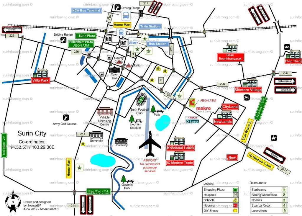 Surin Thailand  City pictures : Surin City Map | Surin Farang Community Forum